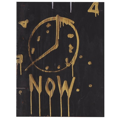 "Outsider Art Acrylic Clock Painting ""Now"", 2015"