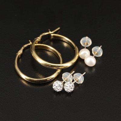 14K Pearl and Rhinestone Stud Earrings with Sterling Hoop Earrings
