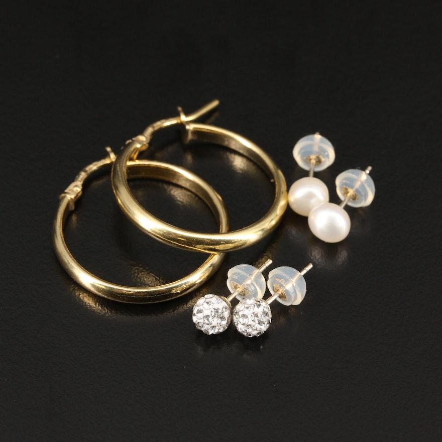 14K Pearl and Rhinestone Stud Earrings with Sterling Hoop Earrings