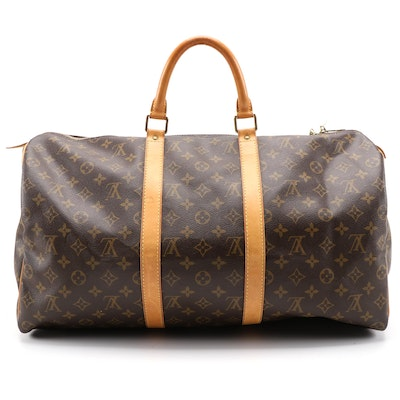 Louis Vuitton Keepall 50 Duffle Bag in Monogram Canvas and Vachetta Leather