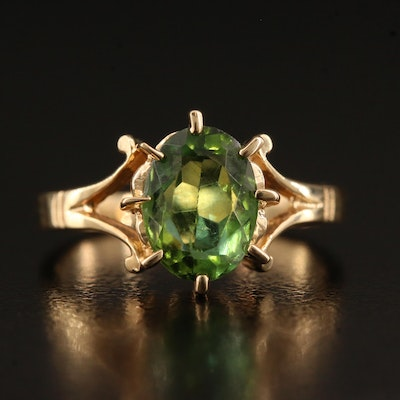 14K Tourmaline Solitaire Ring