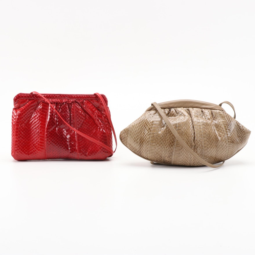 Pierre Cardin and Palizzio Dyed Snakeskin Convertible Clutch Purses