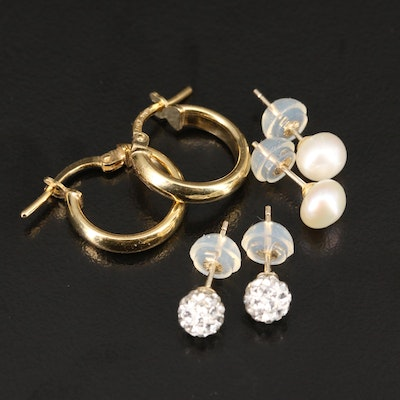 14K Rhinestone and Pearl Stud Earrings with Sterling Hoop Earrings