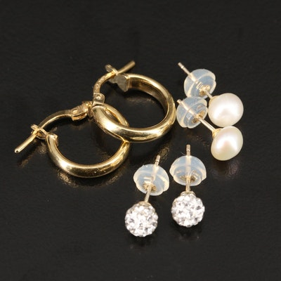 14K Rhinestone and Pearl Stud Earrings with Sterling Hoop Earrings