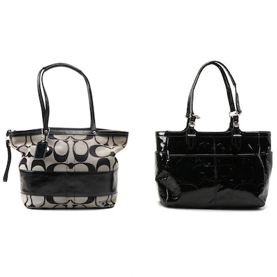 Coach CC Signature Patent Leather and Jacquard Canvas Bags