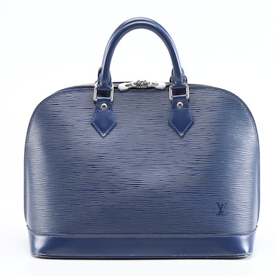 Louis Vuitton Alma MM Top Handle Bag in Blue Epi Leather