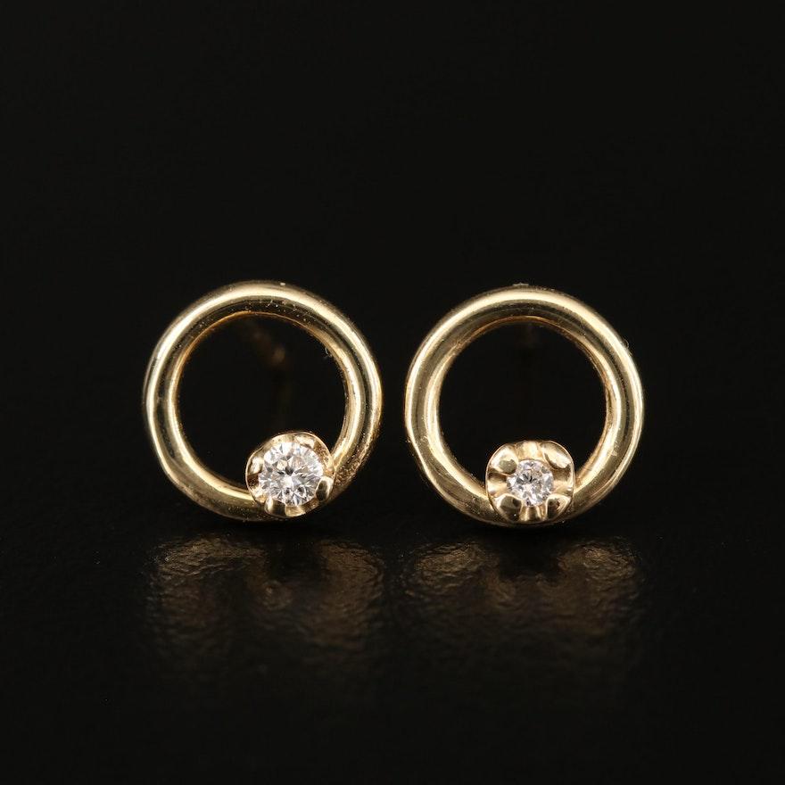14K Diamond Accented Circle Stud Earrings
