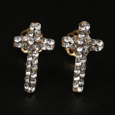 14K Rhinestone Cross Earrings