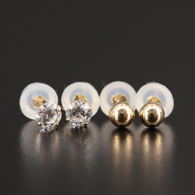 14K Cubic Zirconia and Sphere Stud Earrings