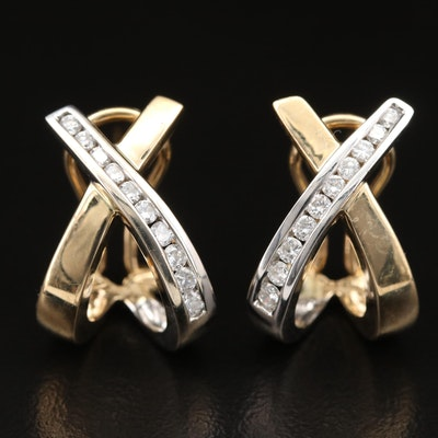 14K Diamond Crossover Earrings