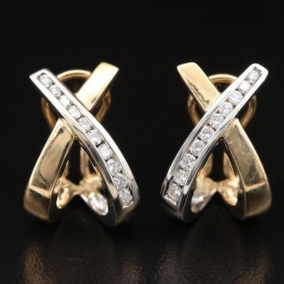 14K Diamond Crossover Earrings