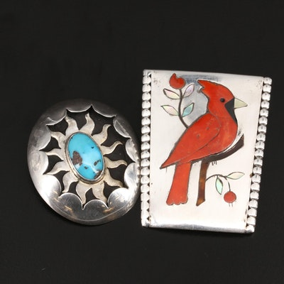 Sterling Inlay Cardinal and Sun Bolo Tie Slide Pendants