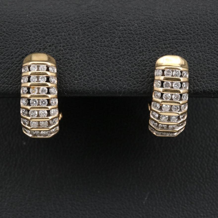 14K 1.26 CTW Diamond Multi-Row J Hoop Earrings
