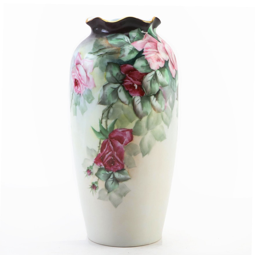 Pfeiffer & Lowenstein Porcelain Vase with Rose Motif, Early 20th Century