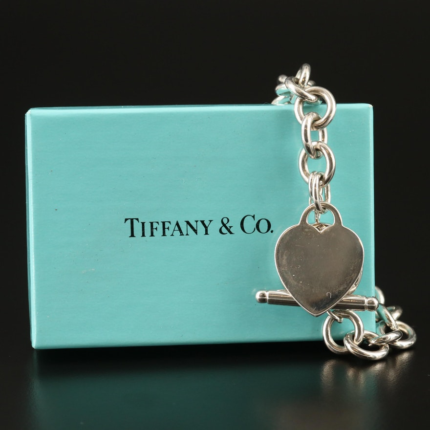Tiffany & Co. Sterling Heart Tag Bracelet with Box