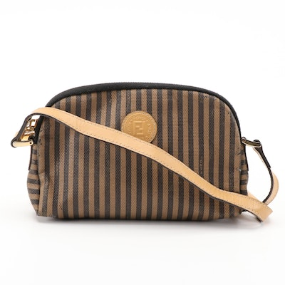 Fendi Pique Stripe Crossbody Bag in Coated Canvas and Leather, Vintage