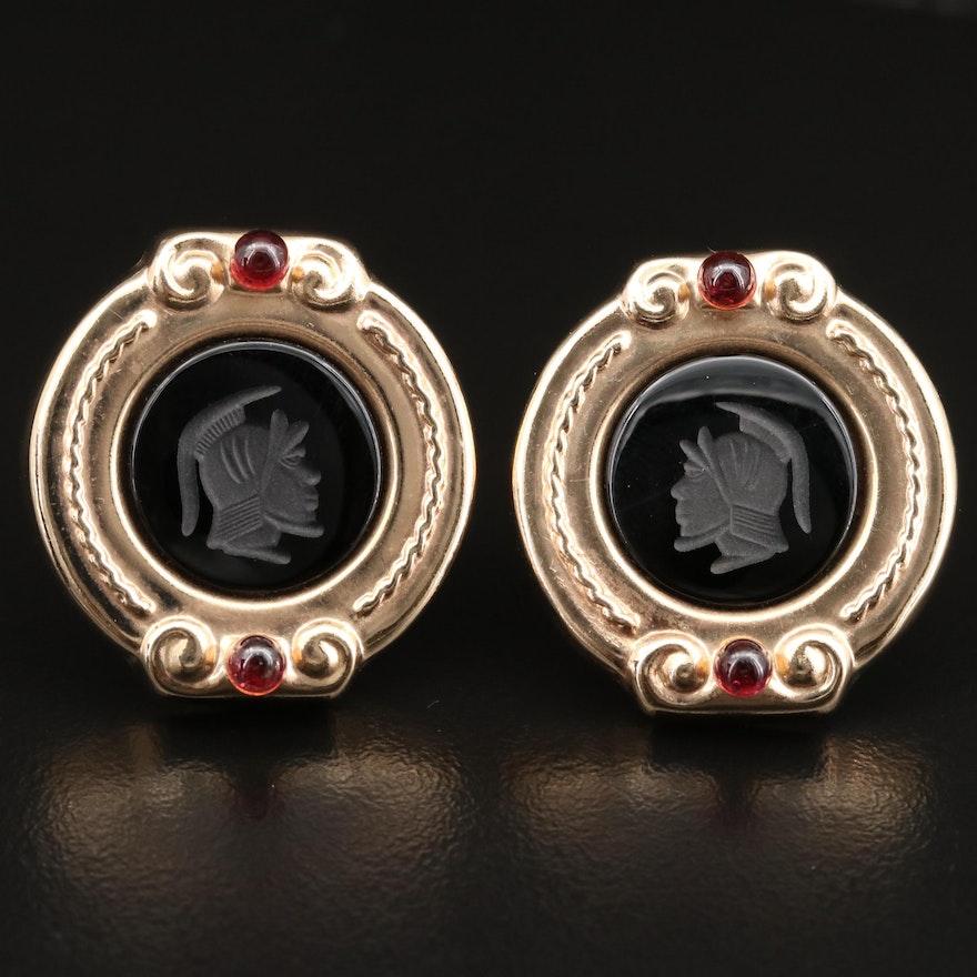 14K Intaglio Black Onyx and Rhodolite Garnet Button Earrings