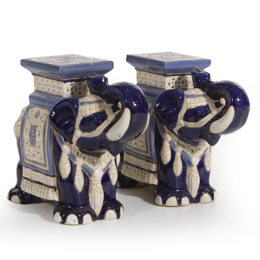 Chinese Blue and White Ceramic Elephant Plant Stands