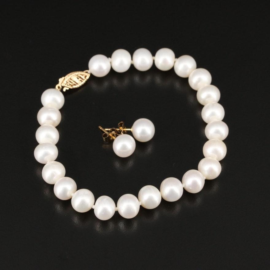 14K Pearl Bracelet and Stud Earrings