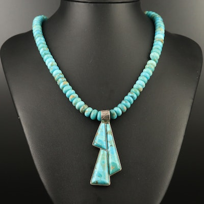 Desert Rose Trading Sterling Turquoise Pendant and Necklace