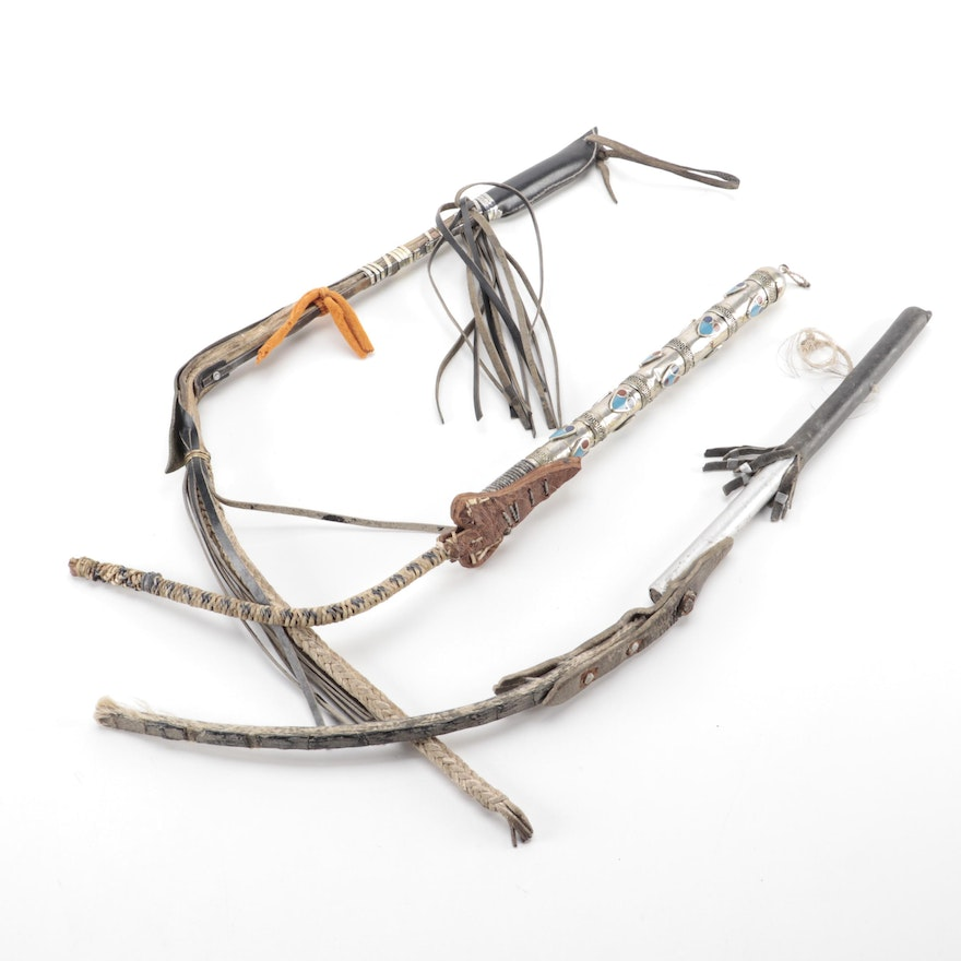 Decorative Southeast Asian Leather and Metal Bullwhips