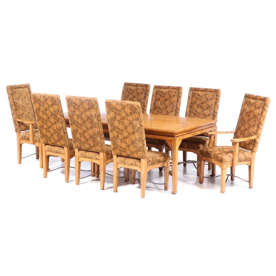 Nine-Piece Bausman & Company Chinese Style Iron-Mounted Hardwood Dining Set