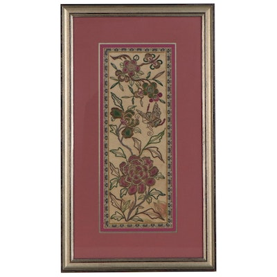 Chinese Silk and Goldwork Floral Embroidery Panel, Early to Mid-20th Century