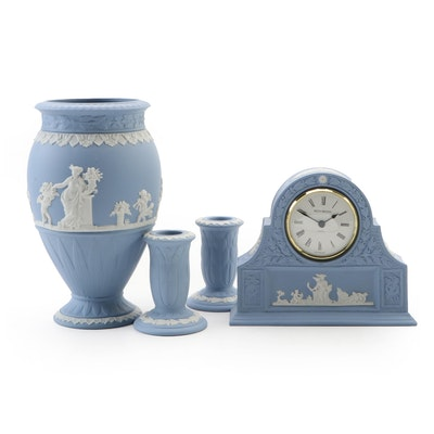 Wedgwood Blue Jasperware Vase, Candlesticks and Quartz Desk Clock