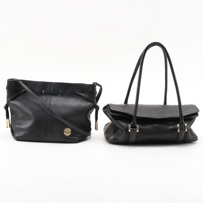 Vince Camuto and Ellen Tracy Black Pebbled Leather Shoulder and Crossbody Bag