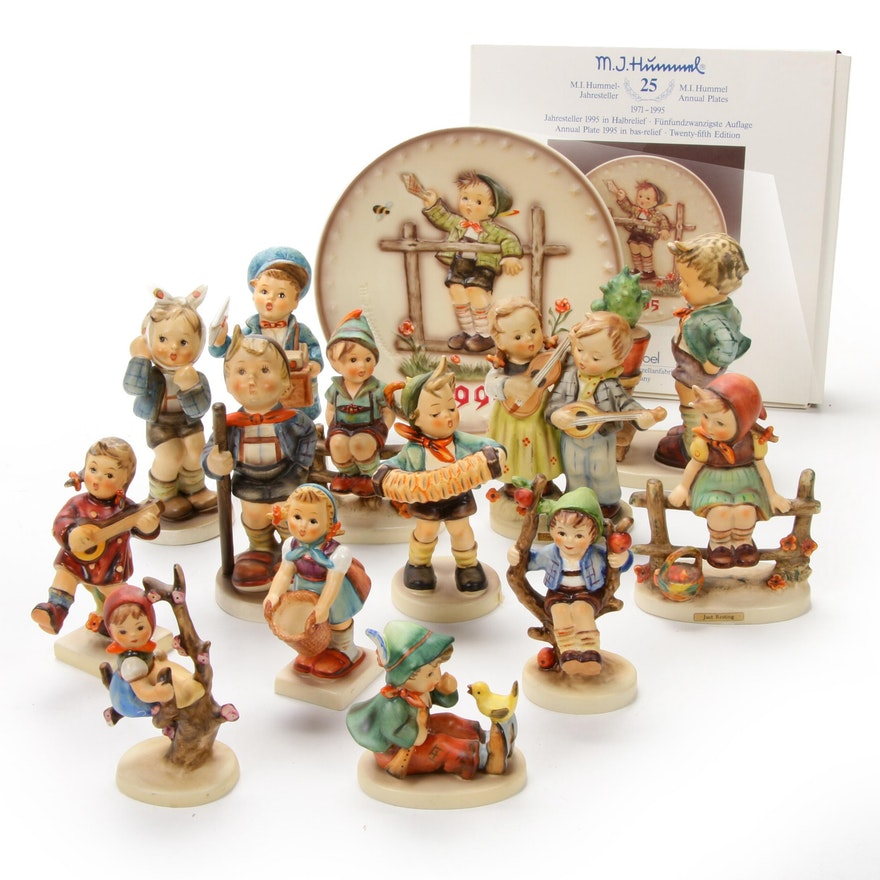 """Goebel """"Confidentially"""" and """"Happiness"""" with Other Hummel Figurines and Plate"""