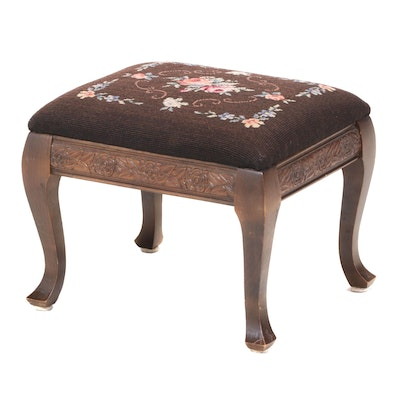 American Walnut-Stained and Needlepoint Footstool, Early 20th Century