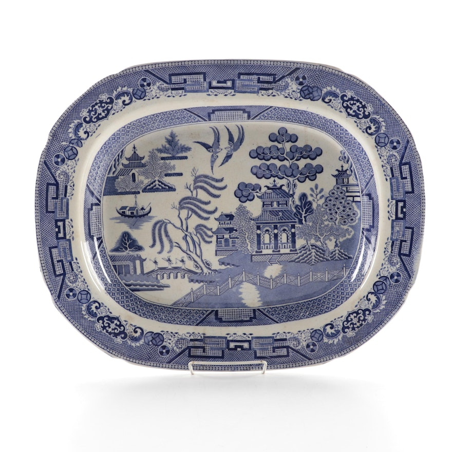 English Blue Willow Transferware Serving Platter, Antique