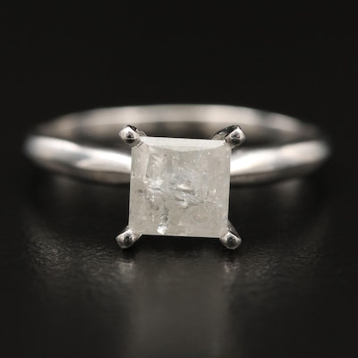 10K 1.24 CT Princess Cut Diamond Solitaire Ring
