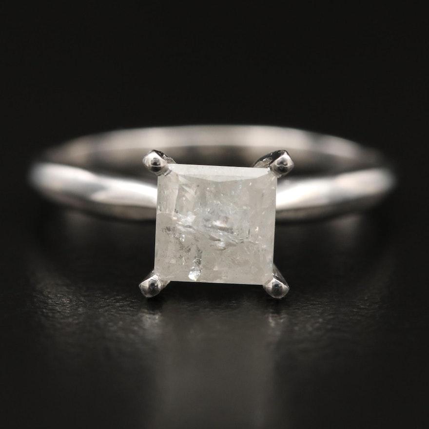 10K 1.24 CT Princess Cut Diamond Solitaire Ring