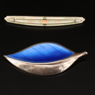 Vintage David Andersen Sterling Champlevé Leaf and Antique Guilloché Bar Brooch