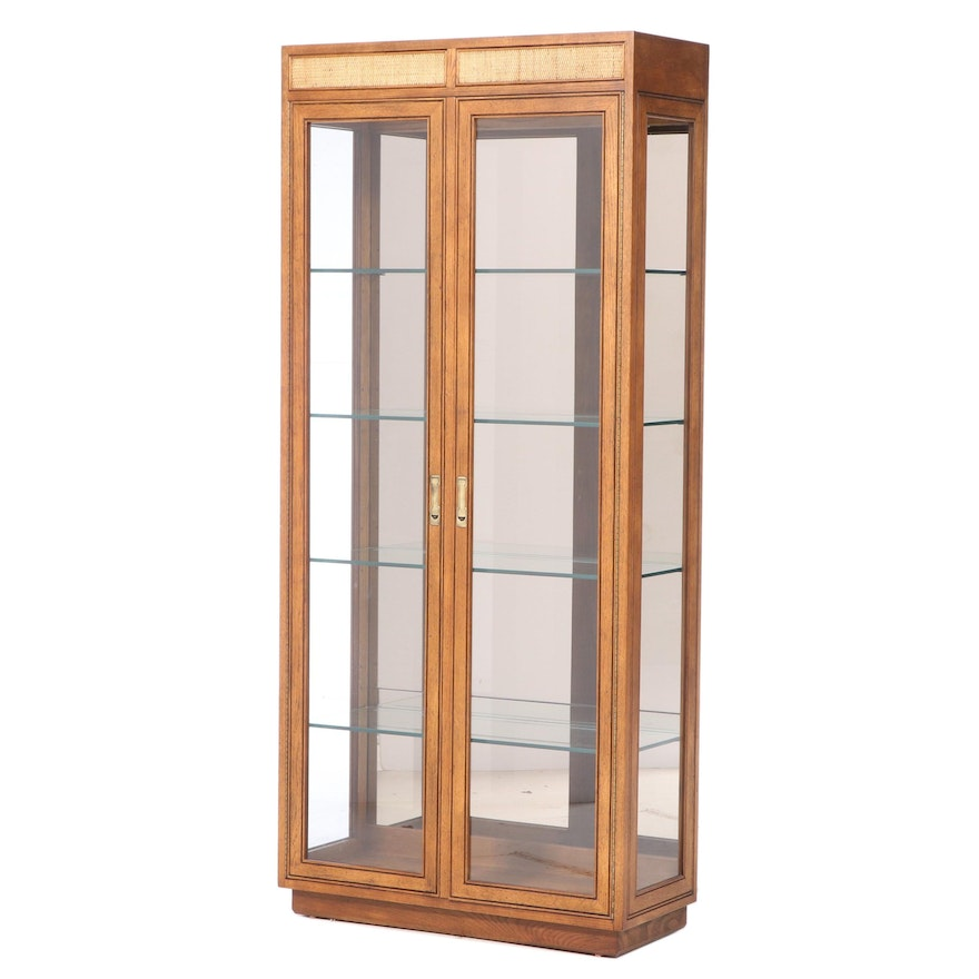 Henredon Oak and Caned Display Cabinet, Late 20th Century