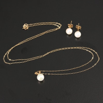 14K Pearl Earrings and Pendant on 10K Cable Chain Necklace