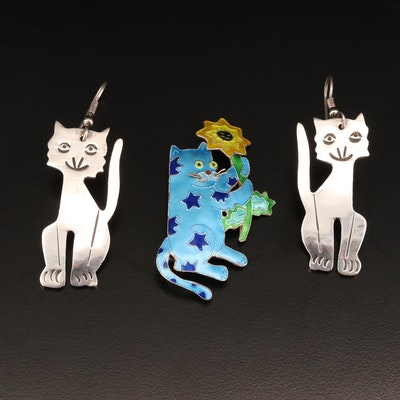 Sterling Silver Cat Motif Enamel Brooch and Earrings