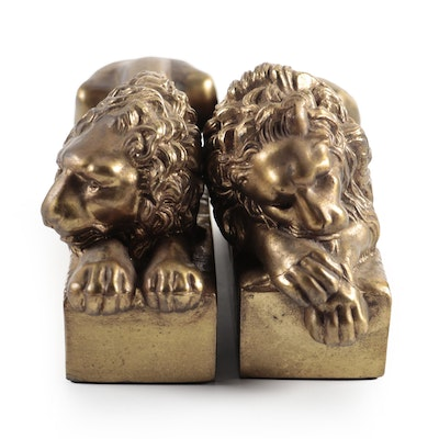 Pair of Brass Recumbent Lion Bookends after Antonio Canova