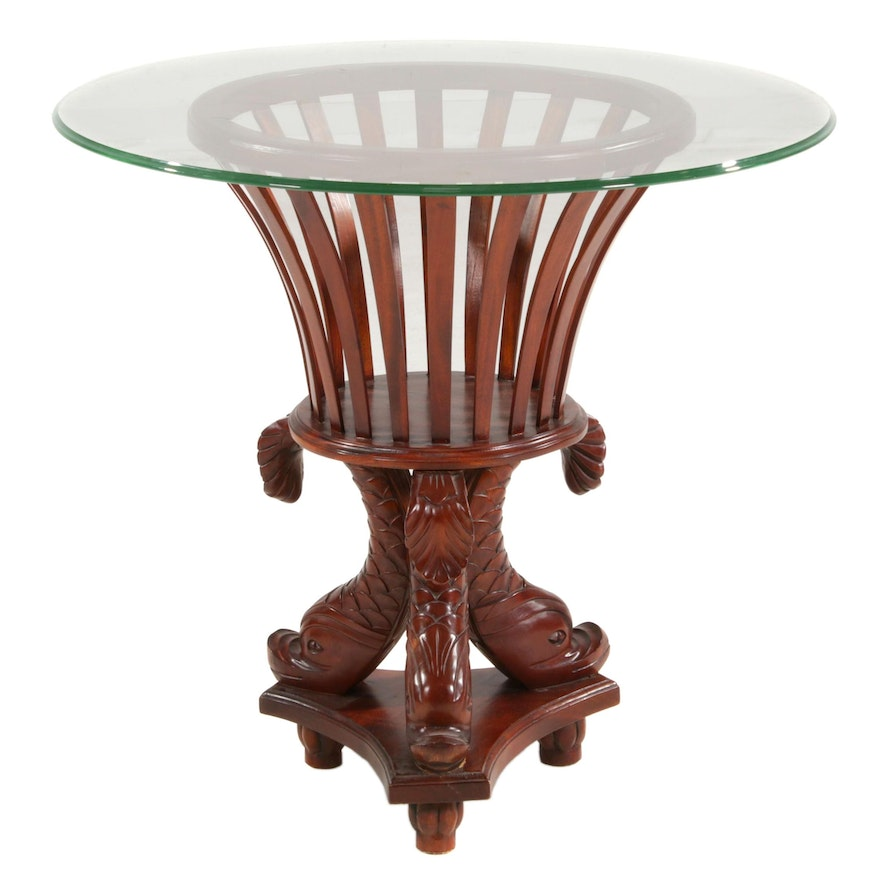 Regency Style Dolphin Base Pedestal Glass Top Table, Late 20th Century