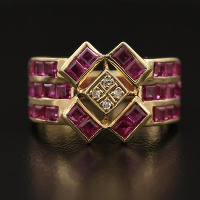 14K Diamond and Ruby Openwork Ring