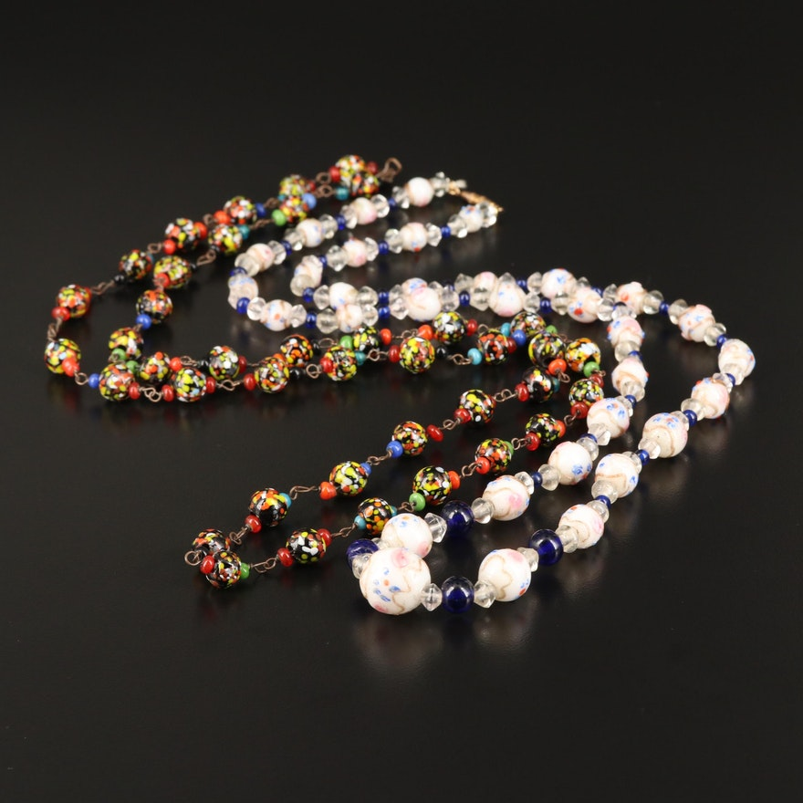 Vintage Murano Glass Beads Featuring Wedding Cake Necklace
