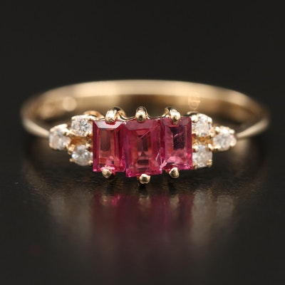 14K Ruby and Diamond Three Stone Ring