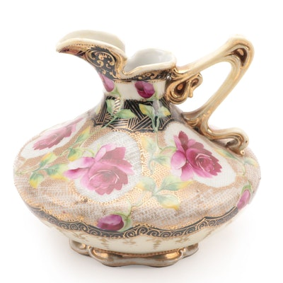 Japanese Moriage Porcelain Ewer with Rose Motif, Early 20th Century