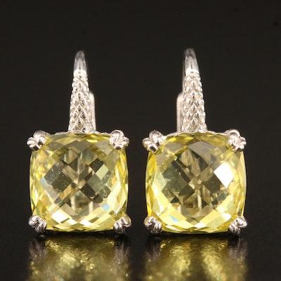 Judith Ripka Sterling Sapphire Drop Earrings
