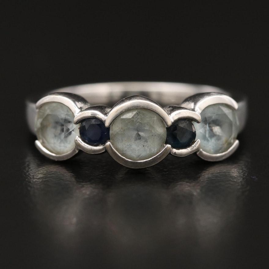 14K Aquamarine and Sapphire Ring