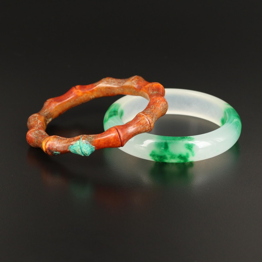 Carved Jadeite and Serpentine Bangles