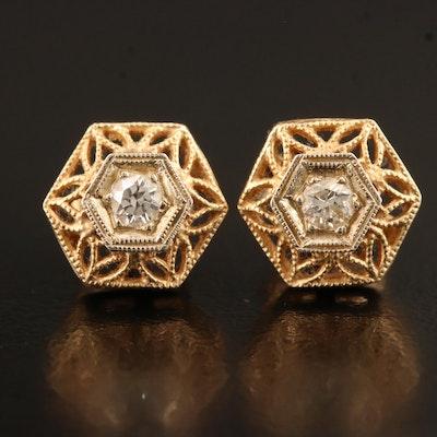 Vintage 14K Open Work Diamond Stud Earrings