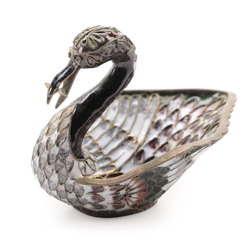 Chinese Champleve Enameled Brass Swan Ring Holder