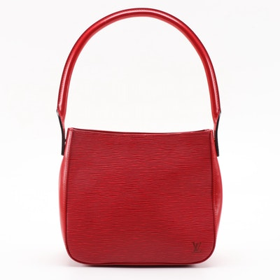 Louis Vuitton Looping MM Shoulder Bag in Red Epi and Smooth Leather